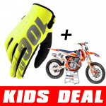 Kids Deal: 100% Kinder Crosshandschoenen Brisker Geel + Jeffrey Herlings #84 Minibike