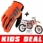 Kids Deal: 100% Kinder Crosshandschoenen Brisker Oranje + Jeffrey Herlings #84 Minibike