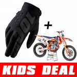 Kids Deal: 100% Kinder Crosshandschoenen Brisker Zwart + Jeffrey Herlings #84 Minibike