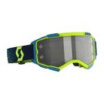 Scott Crossbril Fury LS - Neon Geel / Blauw - Spiegel Lens