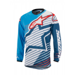 Alpinestars Cross Shirt 2017 Racer Braap - Cyan / Wit / Donker Blauw