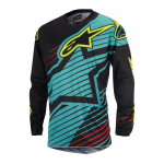 Alpinestars Cross Shirt 2017 Racer Braap - Teal / Zwart / Geel Fluo