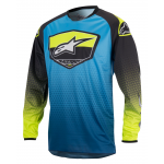 Alpinestars Cross Shirt 2017 Racer Supermatic - Blauw / Cyan / Geel