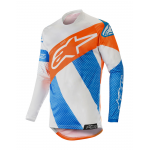 Alpinestars Cross Shirt 2019 Racer Tech Atomic - Cool Grijs / Mid Blauw / Oranje Fluo
