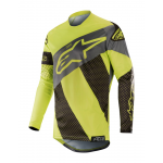 Alpinestars Cross Shirt 2019 Racer Tech Atomic - Zwart / Geel Fluo / Grijs