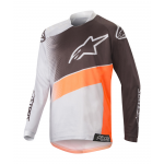 Alpinestars Kinder Cross Shirt 2019 Racer Supermatic - Licht Grijs / Oranje Fluo / Zwart