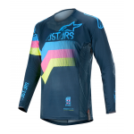 Alpinestars Cross Shirt 2020 Techstar Venom - Navy / Aqua / Fluo Roze