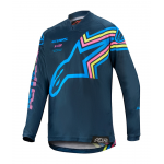 Alpinestars Kinder Cross Shirt 2020 Racer Braap - Navy / Aqua / Roze