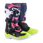 Alpinestars Kinder Crosslaarzen Tech 3S - Zwart / Donker Blauw / Fluo Roze
