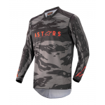 Alpinestars Kinder Cross Shirt 2022 Racer Tactical - Zwart / Grijs / Camo / Fluo Rood