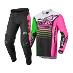 Alpinestars Kinder Crosskleding 2022 Racer Compass - Zwart / Groen / Fluo Roze