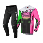 Alpinestars Mini Crosskleding 2022 Racer Compass - Zwart / Groen / Fluo Roze
