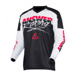 Answer Kinder Cross Shirt 2020 Syncron Pro Glow - Wit / Zwart / Roze