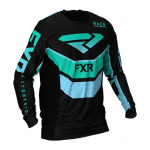 FXR Cross Shirt 2021 Podium - Zwart / Mint / Sky Blauw
