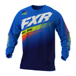 FXR Kinder Cross Shirt 2021 Clutch - Blauw / Navy / Hi-Vis