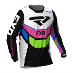 FXR Kinder Cross Shirt 2021 Podium - Zwart / Wit / Roze / Lime / Blauw