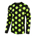 Troy Lee Designs Cross Shirt 2018 GP AIR Polka Dot - Zwart / Flo Geel