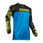 Thor Kinder Cross Shirt 2019 Pulse Air Acid - Elektric Blauw / Zwart