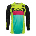 Thor Kinder Cross Shirt 2021 Pulse Racer - Acid / Zwart
