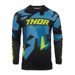 Thor Kinder Cross Shirt 2021 Sector Warship - Blauw / Acid