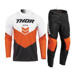 Thor Kinder Crosskleding 2022 Sector Chev - Charcoal / Rood Oranje
