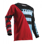 Thor Cross Shirt 2018 Fuse Air Rive - Rood / Poeder Blauw