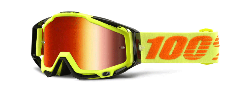 100% Crossbril Racecraft Attack Yellow - Mirror Red Lens