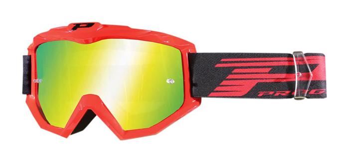 Progrip Crossbril 3201 FL Atzaki - Rood - Spiegel Lens
