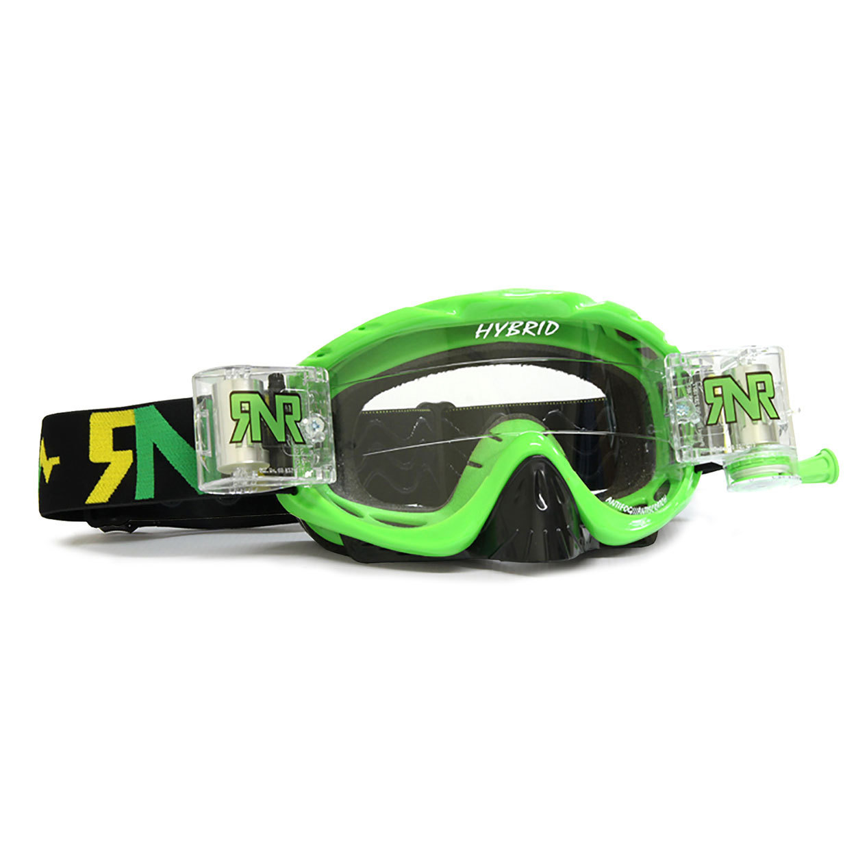 RNR Crossbril Racerpack Hybrid - Lime Groen