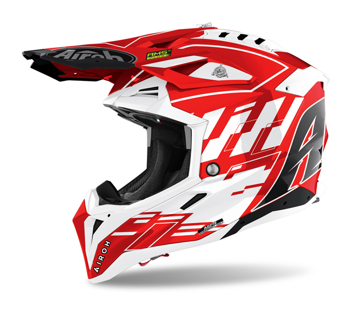 Airoh Crosshelm Aviator 3 Rampage - Glans Rood / Wit