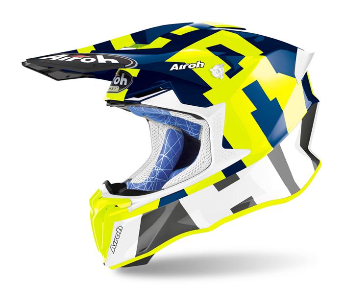 Airoh Crosshelm Twist 2.0 Frame - Glans Fluo Geel / Blauw / Wit