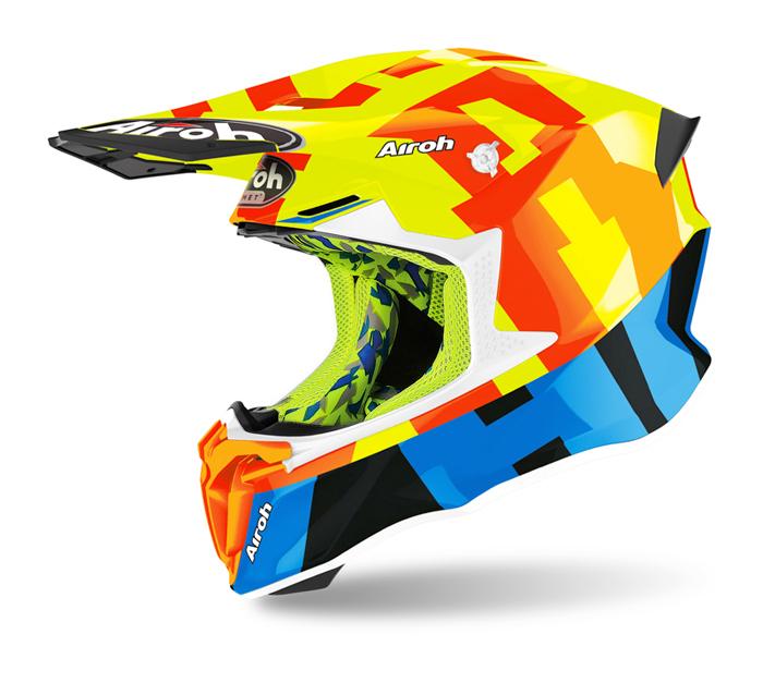 Airoh Crosshelm Twist 2.0 Frame - Glans Fluo Oranje / Geel / Blauw