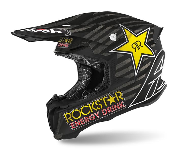 Airoh Crosshelm Twist 2.0 Rockstar - Mat Zwart / Wit