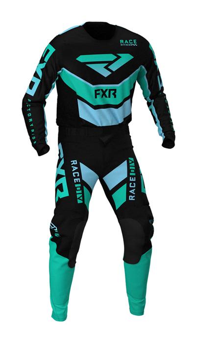 FXR Crosskleding 2021 Podium - Zwart / Mint / Sky Blauw