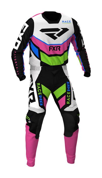 FXR Crosskleding 2021 Podium - Zwart / Wit / Roze / Lime / Blauw